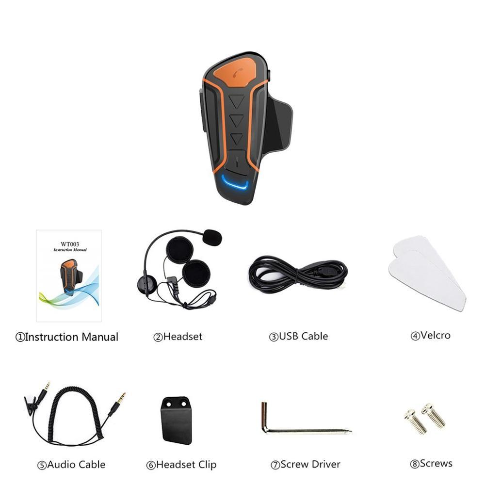 Wt003 1000M Ip67 Waterproof Motorcycle Helmet Walkie-Talkie Motorcycle Walkie-Talkie Headset With Fm Radio