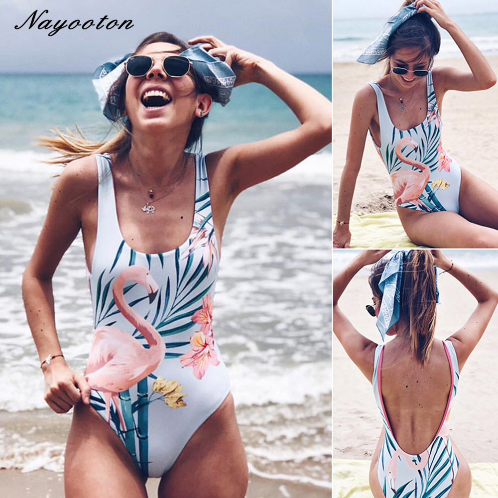 New One-Piece Swimsuit Simple print swimwear women push up Padded High Waisted Monokini Swimsuit cut out Beachwear bathing suit
