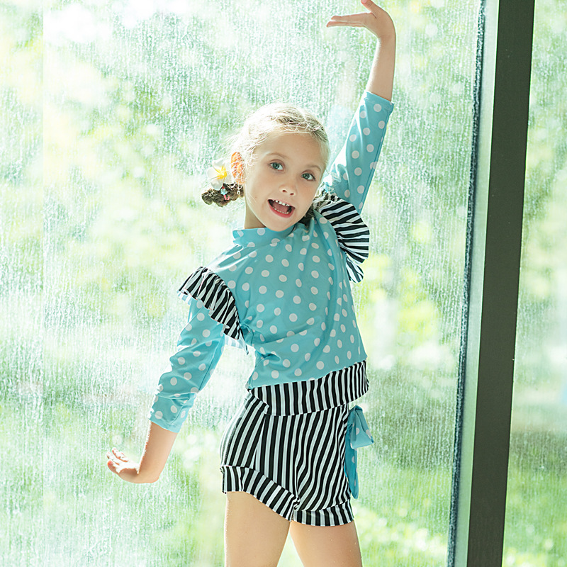 New Style Baby Girls Cute Hot Springs Two-piece Swimsuits Long Sleeve With Swim Cap Diving Suit Swimwear Olive Flower 2029