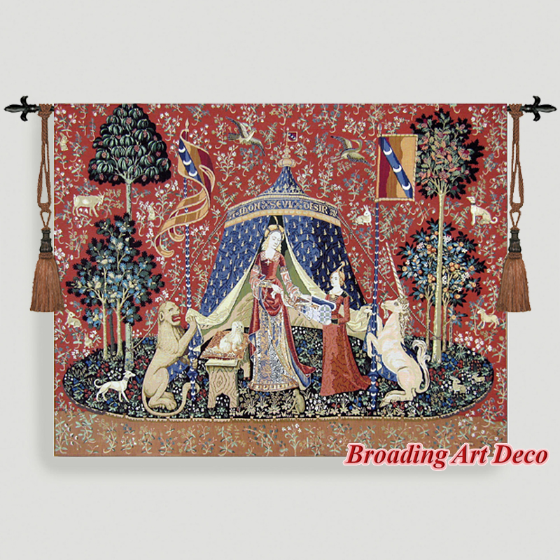 DESIRE The Lady the Unicorn Medieval Tapestry Wall Hanging Jacquard Weave Gobelin Home Art Decoration Aubusson