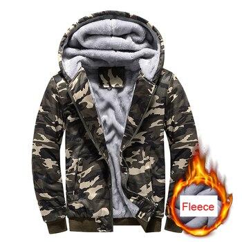 Camo thick winter fleece hoody for fishing