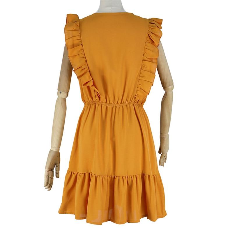 Ruffle Off Shoulder High Waist V Neck Casual Boho Beach Yellow Dress 4