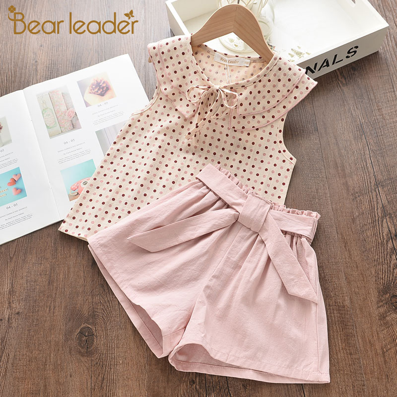 Bear Leader Girls Clothing Sets 2020 New Summer Casual Style Flower Design Short Sleeve T-shirt+Double Pocket Pants 2Pcs For 2-6