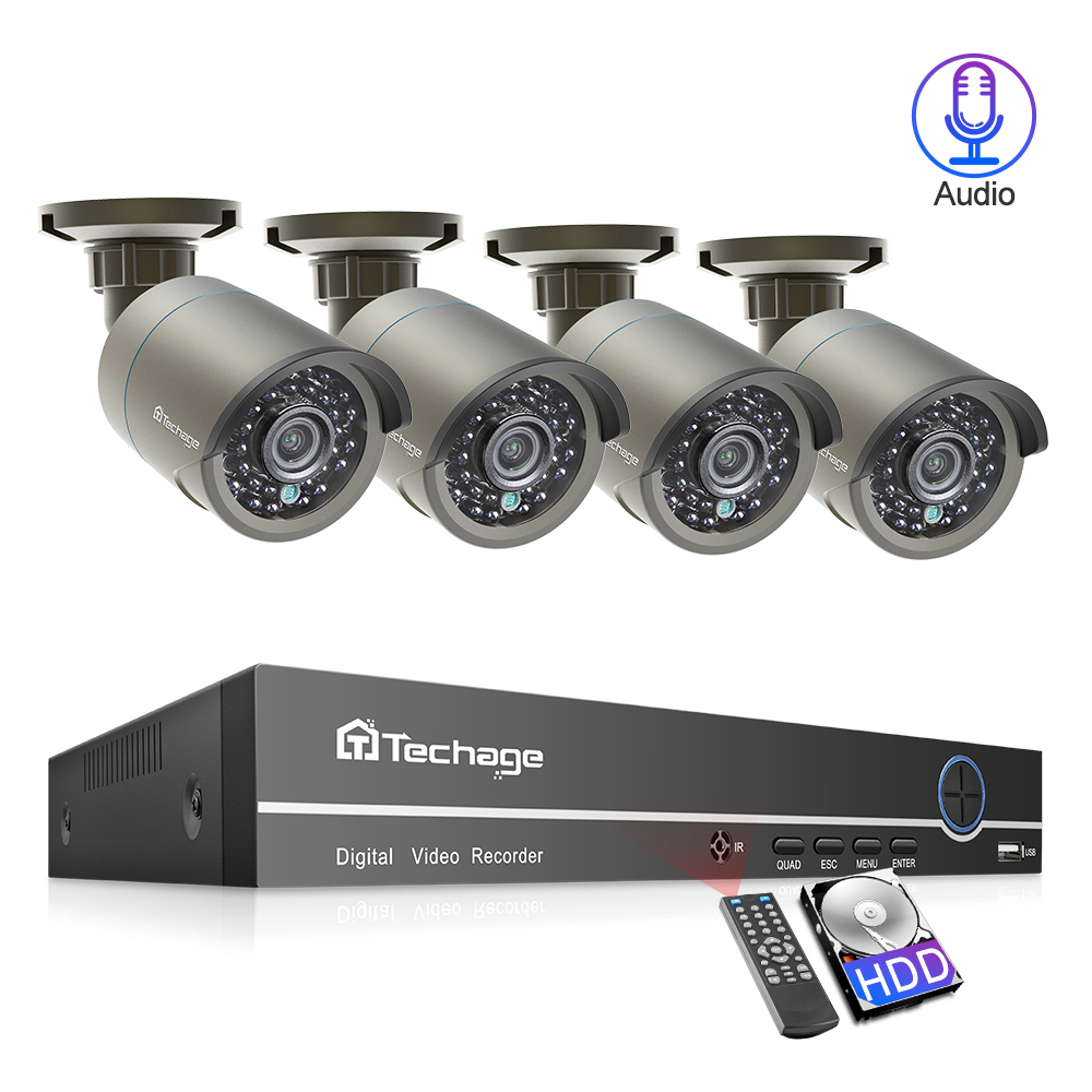 Techage 4CH 1080P 2MP POE CCTV Camera System Audio Sound Outdoor IR Night Vision Surveillance 2TB