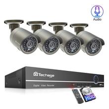 Techage 4CH 1080P H.265 48В NVR 2/4 шт 2.0MP Аудио Звук POE камера система наружного домашнего видеонаблюдения P2P XMeye APP