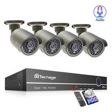 Techage 4CH 1080P H.265 48V NVR 2/4 sztuk 2.0MP Audio dźwięk systemu kamer POE na zewnątrz domu bezpieczeństwa zestaw do nadzorowania P2P XMeye aplikacji