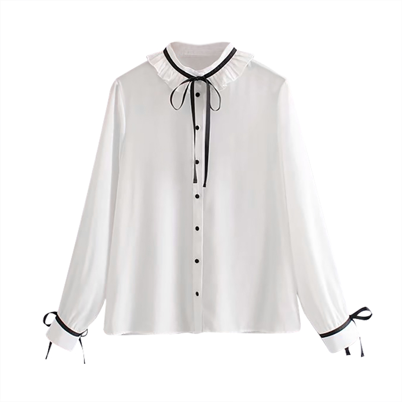 Bow Tie Sweet White Blouse Women Ruffled Long Sleeve Fashion Ladies Shirts Solid Lace Up Casual Tops Autumn Blusa Feminina