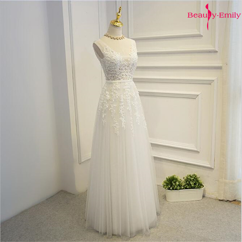 Beauty-Emily Long Lace V Neck Bridesmaid Dresses 2020 Appliques Pleated Beads Tulle Prom Gowns For Wedding Guests Backless Dress