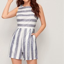 Sexy stripe Sleeveless Linen 2020 Women Jumpsuits Summer Casual Wide Leg Overalls Fashion Loose Playsuits Bohemian Strap Rompers(China)