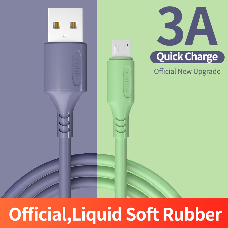 Sams ung Android supports 3A fast charging Micro <font><b>USB</b></font> Type C cable mobile phone cable wire <font><b>0.25</b></font>/1.2m liquid charging cable image