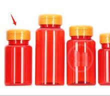 50 adet 100ml saydam kırmızı renk PET ilaç şişeleri orange Flip şişeleri, kapsül/hap/tozu/Vitamin plastik şişeler