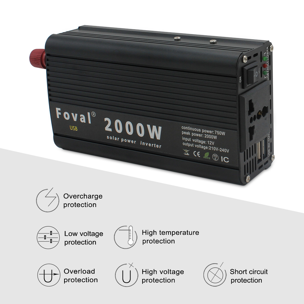 lowest price 8000W outing   Home Dual LED Display pure sine wave power inverter DC 12V 24V TO AC 220V 230V 240V with 3 1A USB