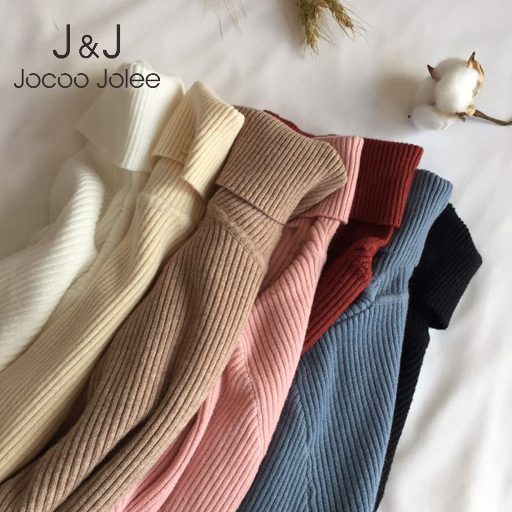 Jocoo Jolee Women Casual Solid Turtleneck Pullover Slim Knitted Ribbed Sweater Korean Harajuku Tight Sweater Warm Soft Tops 2019