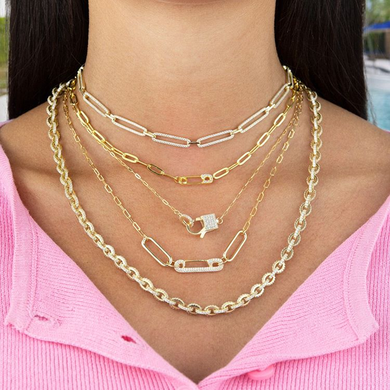 layered necklace Chunky Star Necklace chunky chain necklace micro pave star choker necklace gold link chain necklace paperclip necklace