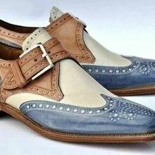 Zapatos de cuero PU para hombre, zapatos informales de tacón bajo, zapatos de vestir, zapatos Brogue, botines de primavera, Vintage, clásico, informal para hombre AB615