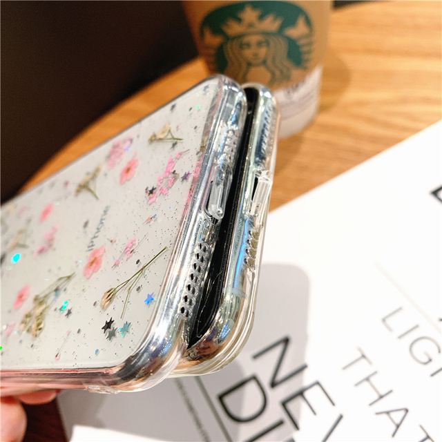 Hot Real Dry Flower Glitter Clear phone case for apple iphone 6 7 8 Plus X XS XR MAX 11 Pro 12 MiNi Epoxy Star Transparent cover 6
