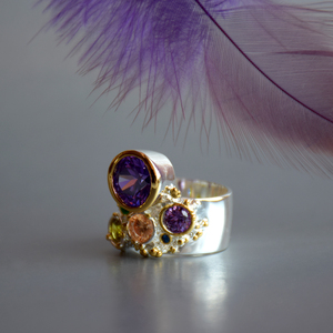Image 5 - DreamCarnival 1989 New Arrive Colorful Feminine Zircon Ring for Women Big Purple Stone Gothic Wedding Engagement Jewelry WA11704