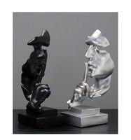 ホームデコレーション樹脂沈黙はゴールデン思想家ミニチュア像抽象飾り像マスク彫刻のため -