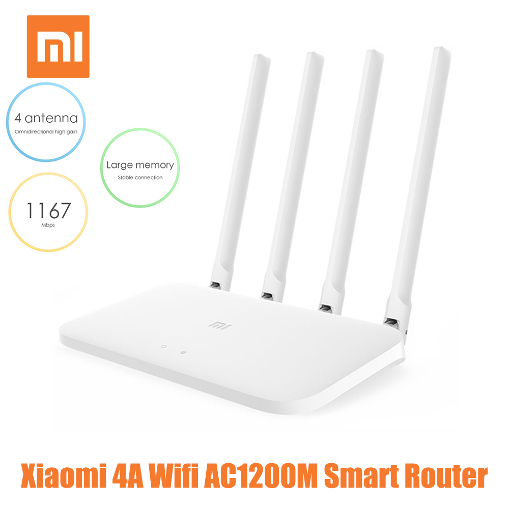 Xiaomi 4A WiFi Router 2.4GHz 5GHz Dual-band AC1200M Smart Router Double Heat Sink 16MB ROM + 64MB IPv6 Smart Control