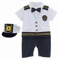 Baby Jungen Kapitän Kostüm Mit Hut Neugeborenen Halloween Cosplay Overall Outfit Kleinkind Skipper Sailor Overall