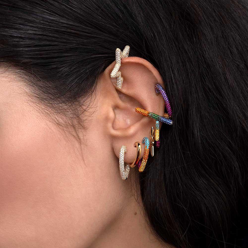 Itenice Rainbow Star Earcuffs Earrings For Women Colorful Multi-Hoop Rhinestone Ear Cuff Romantic Heart Boho Ear Clips On Ear