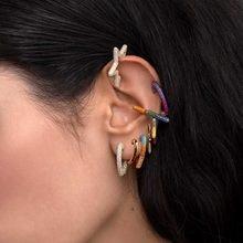 Branice arco-íris estrela brincos, para mulheres colorido multi-arco-íris strass punho de orelha romântico coração boho clipes orelha com orelha,