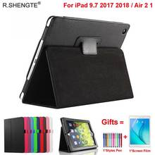 Magnetic Folio Leather Stand Cover For iPad 9.7 2017 2018 5/6th Generation Case Funda for iPad Air 1/2 Air2 with Stylus Pen+Film for ipad air 1 air 2 case high quality soft tpu bottom back case cover for 9 7inch ipad air1 air2 free stylus and screen film