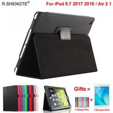 Magnetic Folio Leather Stand Cover For iPad 9.7 2017 2018 5/6th Generation Case Funda for iPad Air 1/2 Air2 with Stylus Pen+Film(China)