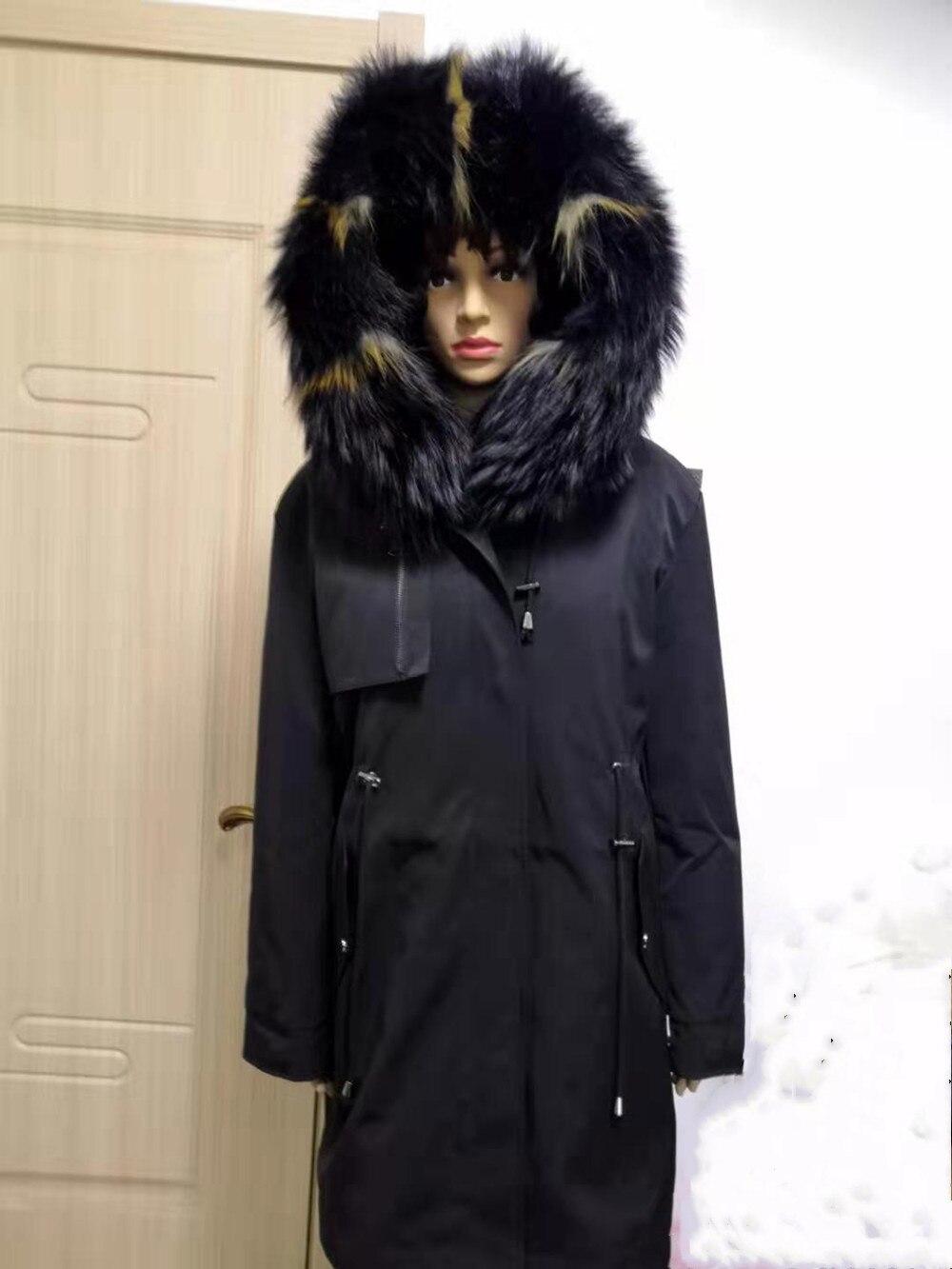 Mulheres Jaqueta de Inverno parka Pele Real Real Natural Fox Fur Coat Grosso Quente Fur Parka Casaco De Pele Verdadeira 2019