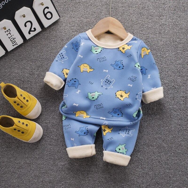 12M-8 Years 2Pcs/Set Pajamas Children's Underwear Suit Cartoon Velvet Warm Girl's Clothes of Winter Baby Boys Babies Clothes 3