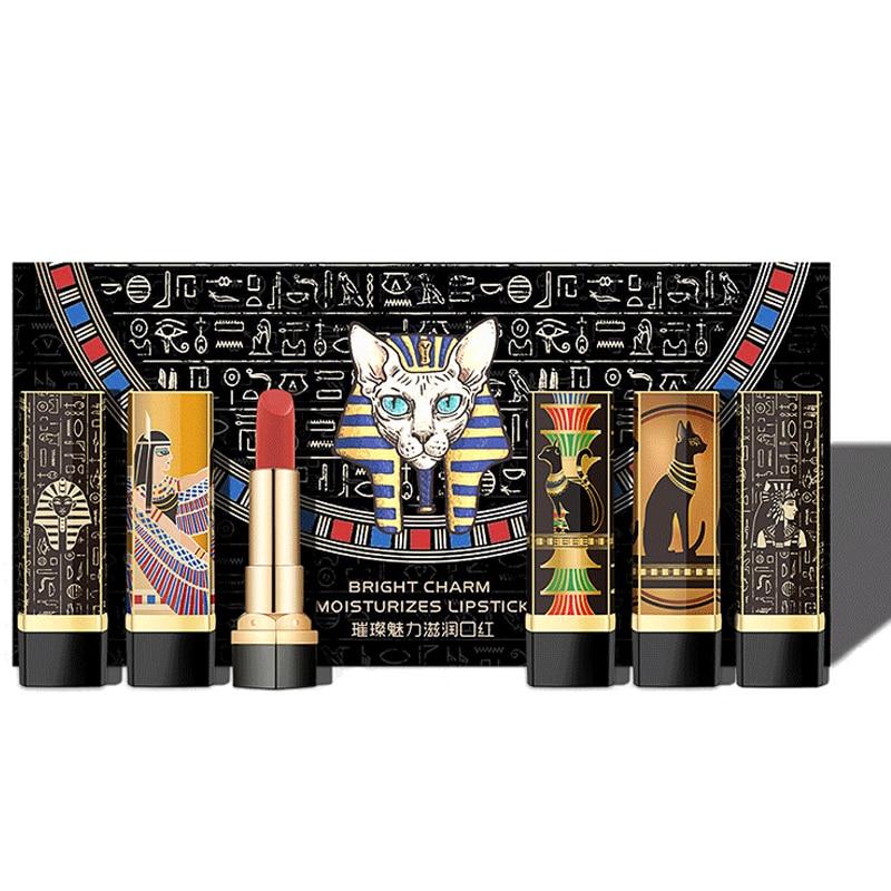 Neue 5 Farben Lippenstift Sexy Langlebig Wasserdicht Nahrhaft Lippenstift Make-Up Samt Matt Nude Mode Lipgloss Ägypten Sammlung