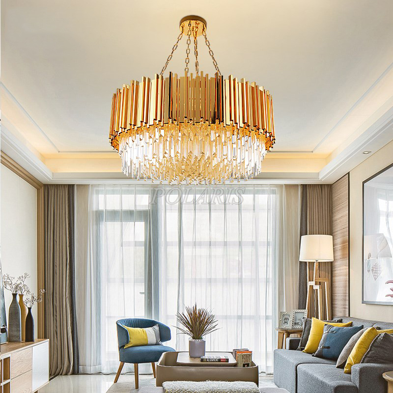 Modern LED Crystal Chandelier Lighting Round Cristal Chandelier Light Gold Crystal Chandelier Lamps Indoor Lighting