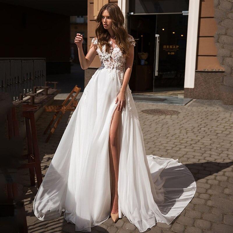 Verngo Beach Boho Wedding Dress Summer Side Slit Wedding Dress Lace Appliques Bride Dress Backless Weeding Gowns Robe Mariage