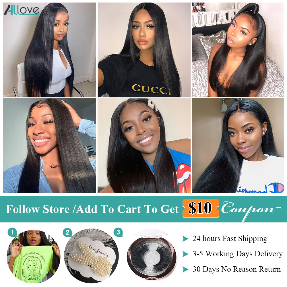 Allove Bone Straight Lace Front Human Hair Wig 6