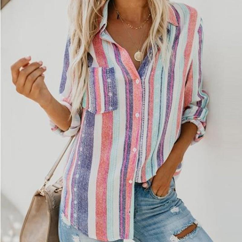 Женская Осенняя блузка с длинным рукавом, модная полосатая рубашка, женская рубашка, женские сексуальные повседневные топы с глубоким