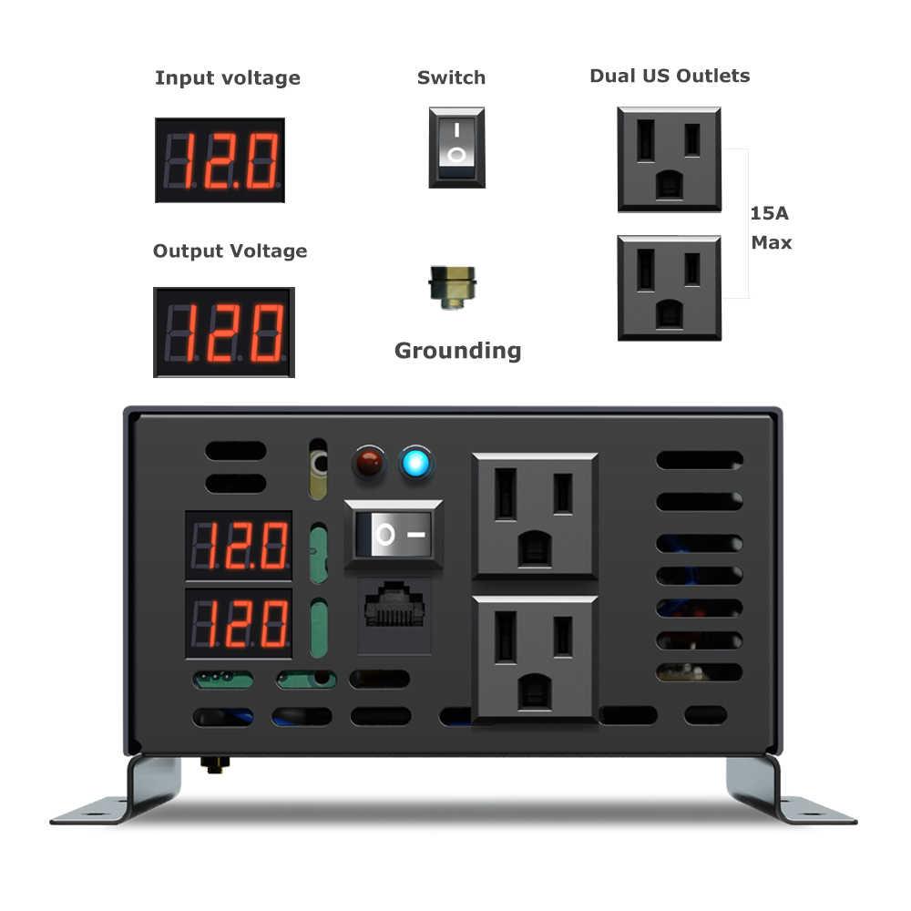 Saf sinüs dalga güç inverteri 2500W güneş invertör 12 V/24 V/36 V/48 V/ 72 V/96 V/110 V DC AC 100/120 V/230 V/240 V kablolu uzaktan kumanda
