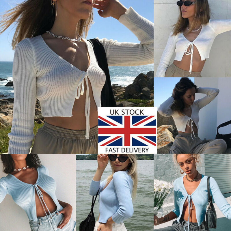 2019 Fashion Women's Knotted Tie Front Solid Shrug Long Sleeve Knit Sweater Cardigan Sexy Cotton Soft Openwork Navel Clothing
