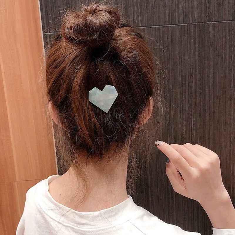 Tortoise Shell Rambut Klip Pink Jantung Acrylic Resin Jepit Rambut Pin untuk Wanita Wanita Rambut Aksesoris