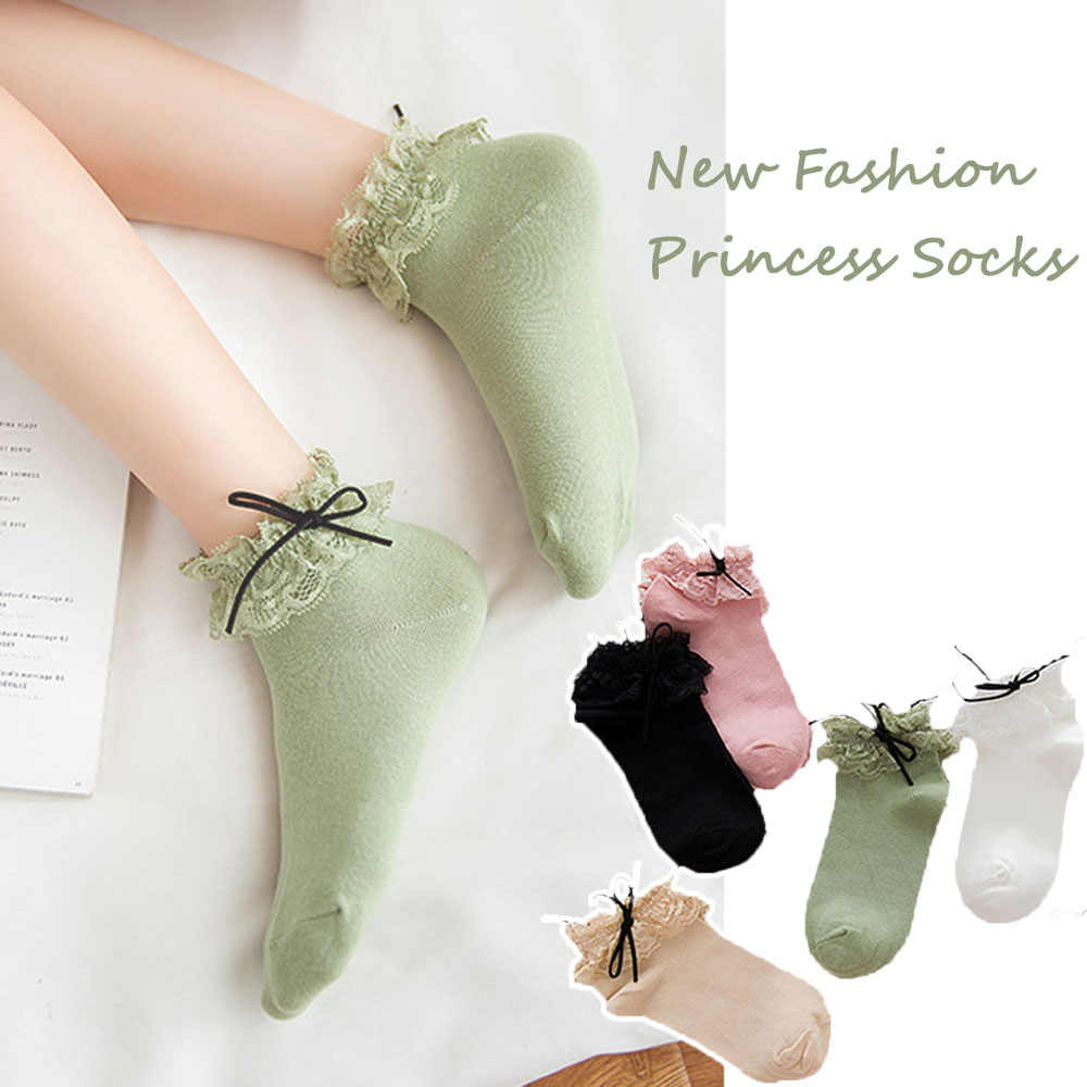 1 Pair Korean Style Harajuku Ladies Girls Vintage Female Hollow Luxury Solid Cotton Lace Short Frilly Sock Ruffle Ankle Socks