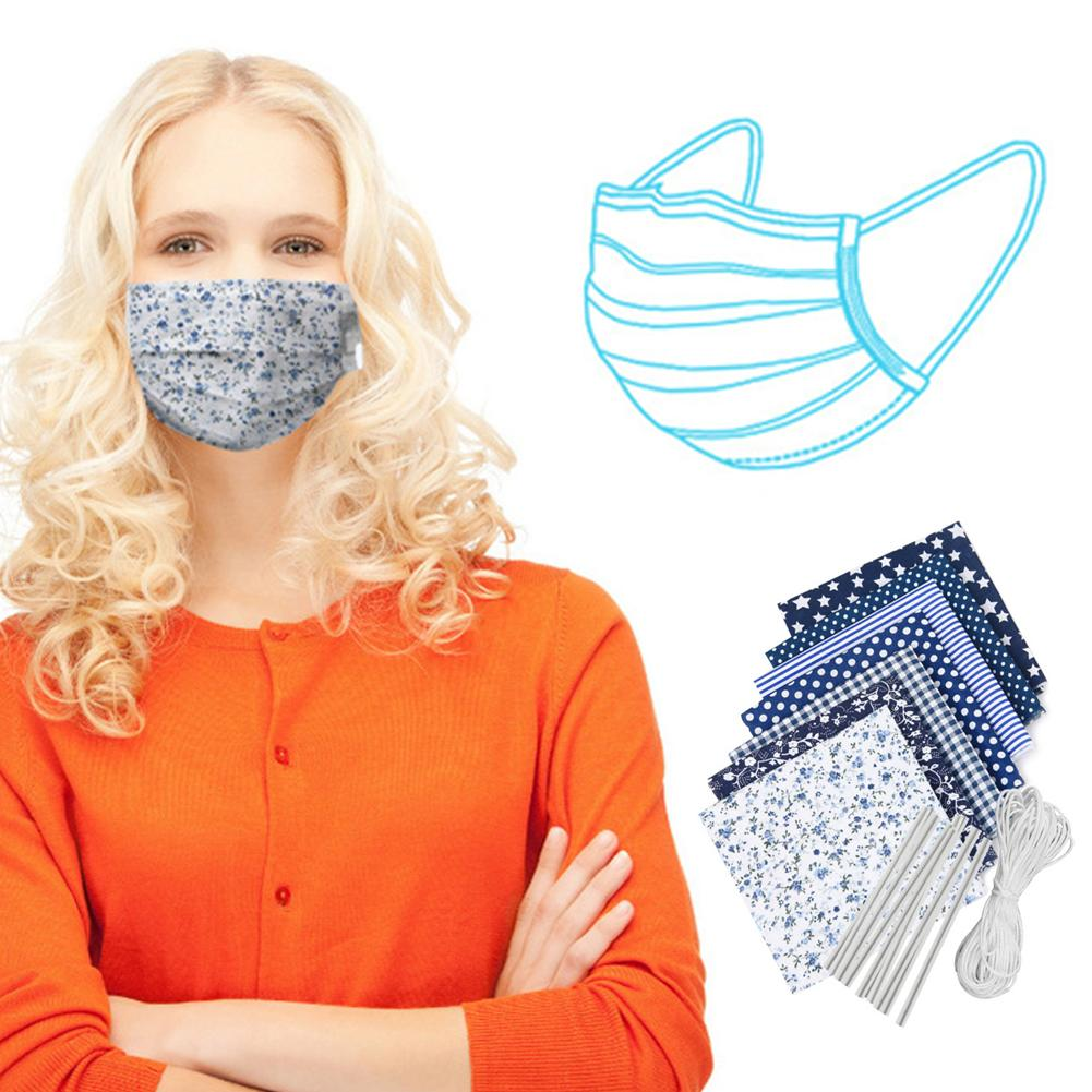 7Pcs DIY Protection Face Mask Cloth With 6m Elastic Rope 10 Nose Bridge Clip Mask DIY Accessory Safety Windproof Anti Virus Mask