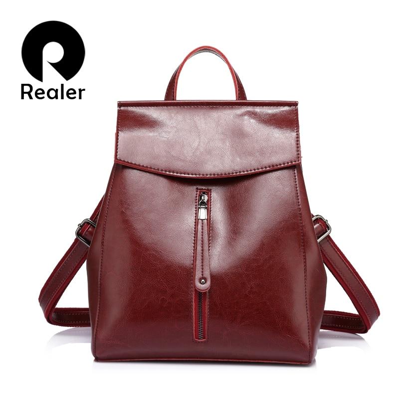 REALER Women Backpack High Quality Cow Split Leather School Backpacks For Teenager Girls Crossbody Bag Shoulder Bags For Female