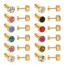 LUXUKISSKIDS 12 par/lote 6MM joyas de colores de arcilla circonita pendientes de acero inoxidable para mujeres de oro tornillo trasero aretes brincos