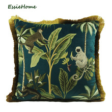 ESSIE HOME Tropical Plants Palm Leaves Animal Pattern Monkey Digital Print Velvet Cushion Cover Pillow Case With Gold Tassel