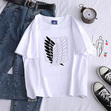 Mulheres verão manga curta solta t camisas kawaii desenhos animados ataque em titã logo impressão tshirts padrão casual gráficos o pescoço topos