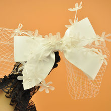 2019 Brand White Big Bow Hair Clip For Bride Wedding Silk Flower Veil Fascinator Hair Accessories Ladies Cocktail Prom Headdress(China)