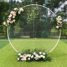 Wedding-Decor-Props Backdrop Flower-Frame Circle White Grid Festival Wrought-Iron Stage