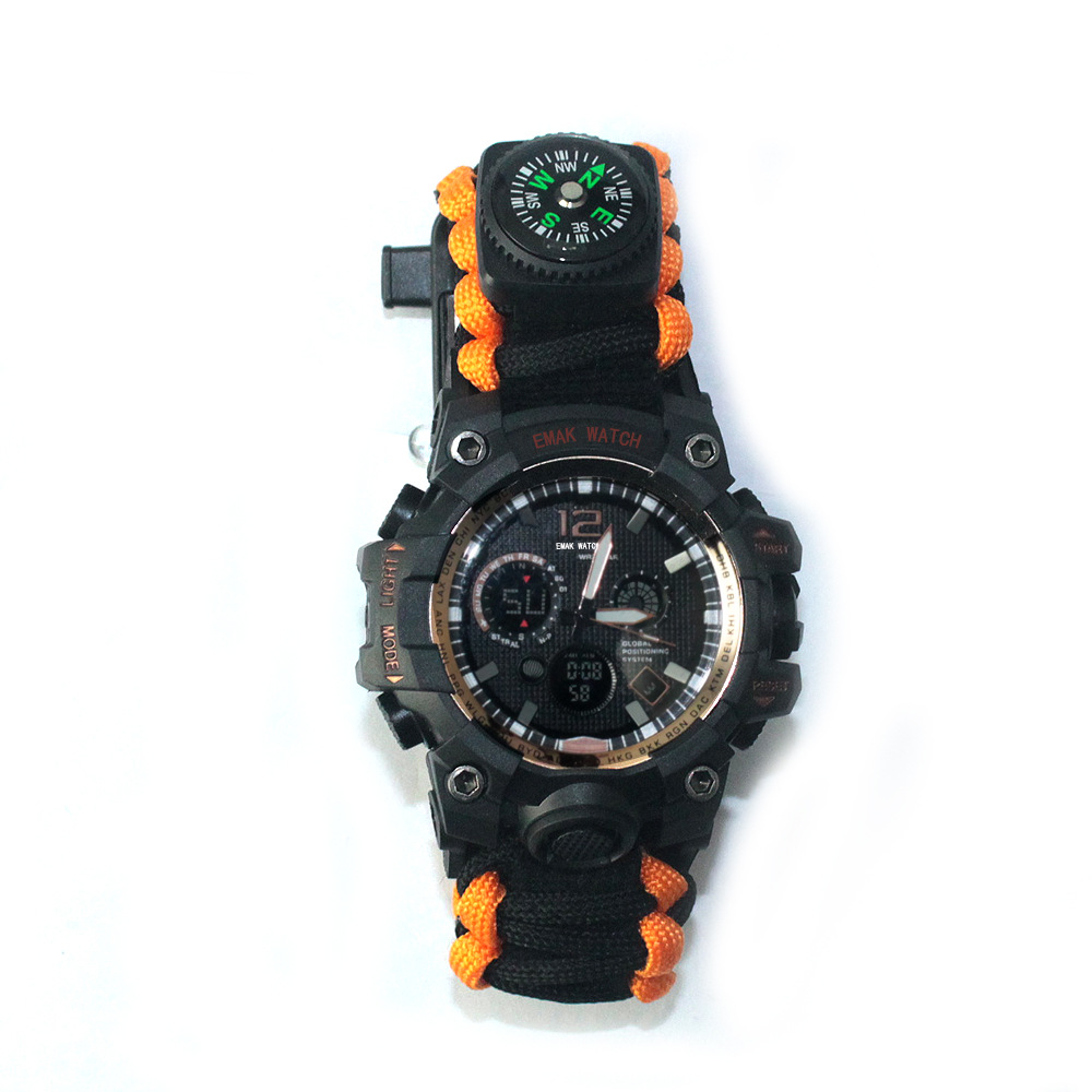 EM-183 New Style Multi-functional Water-Resistant Watch Outdoor Sports Casual Mountain Climbing Camping LED Laser Watch