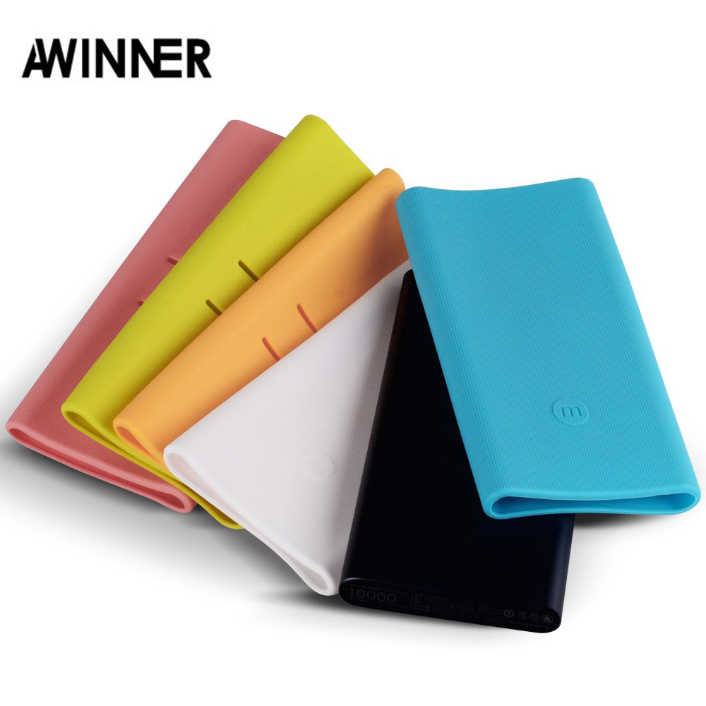 Silicone Protector Case Cover Skin Sleeve Bag for New <font><b>Xiaomi</b></font> Xiao Mi <font><b>2</b></font> 10000mAh Dual USB Power Bank <font><b>Powerbank</b></font> Accessory colorful image