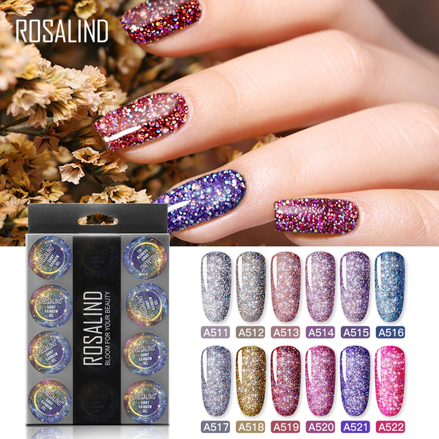 ROSALIND Manicure Set Gel Nail Polish Set 12PCS/LOT Rainbow Shiny Gel Glitter Acrylic Nail Kit Varnish All For Manicure Tools 1
