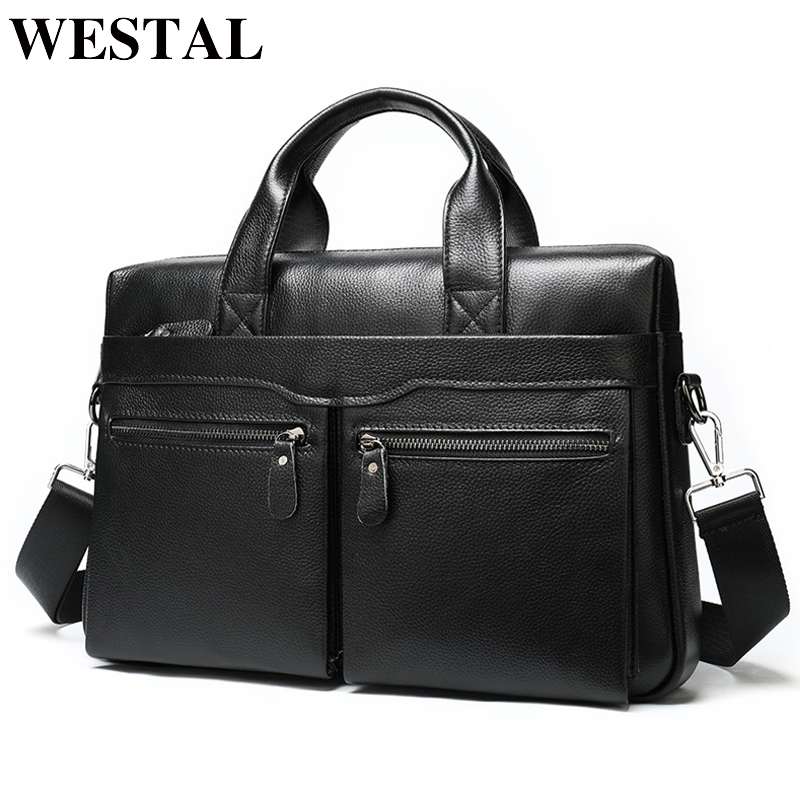 WESTAL Men's Briefcase Leather Laptop Bag Men's Genuine Leather Office Bag For Men Business Men's Bag For Document Tote 9006